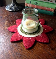 Flower Candle Mat Red by Scissaroo on Etsy