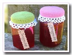 ~ √ Virkat ~ | Miss Elsa virkblogg: Patterns I adore these jar covers. (pattern) Other free patterns here too.