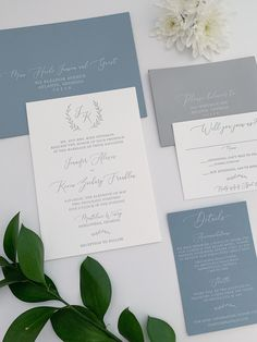 Dusty Blue and Gray Monogram Wedding invitations - letterpress printing, mix and match envelopes, greenery details, and white ink addressing