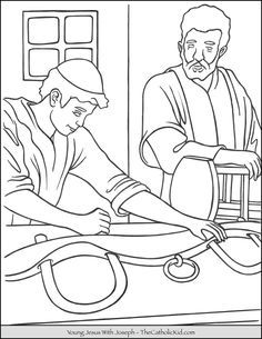 Young Jesus with Joseph coloring page. Jesus building a yoke with Saint Joseph. Jesus Coloring Pages, Free Printable Coloring Pages, Coloring Pages For Kids, Coloring Books, Catholic Kids, Catholic Saints, Saint Feast Days, Church Crafts, Line Art