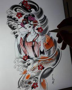 Japanese Geisha Tattoo, Japanese Sleeve Tattoos, Full Sleeve Tattoos, Japanese Artwork, Japanese Painting, Frog Tattoos, Girl Tattoos, Sketch Drawing, Tattoo Sketches