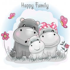 Find Cute Hippo Family Cartoon stock images in HD and millions of other royalty-free stock photos, illustrations and vectors in the Shutterstock collection. Cartoon Cartoon, Cartoon Drawings, Cute Drawings, Cartoon Characters, Cartoon Hippo, Cartoon Familie, Cartoon Mignon, Baby Animals, Cute Animals