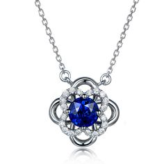 Classic 0.55ct Natural Blue Sapphire in 18K Gold Pendant by CHARMES Jewellery