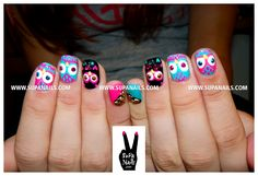 Oh Oh Owls Again! Cute owl nails with some rhinestone bling for my sweet friend Lucy.