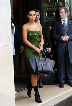 Kim Kardashian in Paris with Celine Phantom Croc Bag5