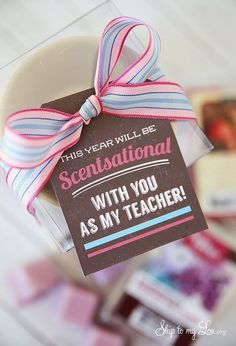 """Back to school teacher gift idea: """"Scentsational"""" free printable gift tag."""