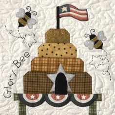 """Honey Bee Lane Pattern 4 """"Glory Bee"""" - The Quilt Company Quilt Block Patterns, Applique Patterns, Applique Quilts, Quilt Blocks, Applique Towels, Applique Ideas, Hand Applique, Wool Applique, Nancy Zieman"""