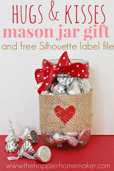 Mason Jar Valentine Gifts and Crafts | DIY Ideas for Valentines Day for Cute Gift Giving and Decor |   Hugs and Kisses Mason Jar Gift    |  http://diyjoy.com/mason-jar-valentine-crafts