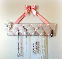 Original Girls French Jewelry Hanger and Bow Holder - Ivory Silky Fabric and Pink Ribbon - Princess - Ballerina - READY TO SHIP. $29.00, via Etsy.