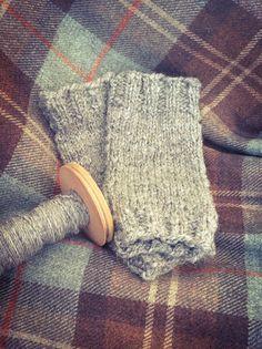 PJ* Handspun handknitted fingerless mittens in by Handmadethingymjigs