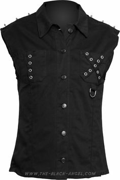 Sleeveless goth shirt with eyelet detail, from Aderlass's Black Pistol clothing line.