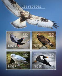 Post stamp Niger NIG 14512 aBirds of prey (Terathopius ecaudatus, {…}, Haliaeetus pelagicus)