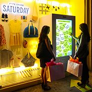 Bricks & Clicks - great story on how mobile is a gamechanger and how to enchant the consumer both in real life and online - this picture is Saturday by Kate Spade - less inventory, more sales - eBay Window Interactive Shoppable Window Display In Meat Packing District - MMS ONLY