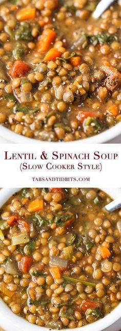 A delicious, nutritious and filling soup with the optional but strongly recommended kick of spice! Lentil & Spinach Soup (Slow Cooker Style) A delicious, nutritious and filling soup with the optional but strongly recommended kick of spice Crock Pot Recipes, Crock Pot Cooking, Slow Cooker Recipes, Cooking Recipes, Cooking Tips, Cooking Games, Chicken Recipes, Lentils Crockpot Recipes, Easy Cooking