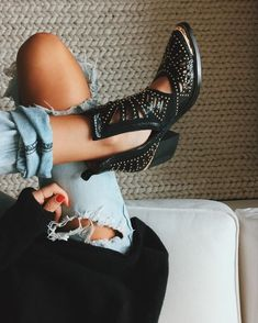 studded cutout boots & one teaspoon denim