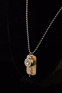 Free Shipping Ammo Bullet Dog Tag Cross by BlingItOnBulletDZign, $30.00