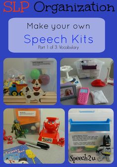 Organization: Make your own Speech Kits - Speech 2U. Love this! I use lots of little manipulatives for this very purpose