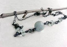 Aquamarine Necklace wire wrapped silver by MaisyGraceDesigns