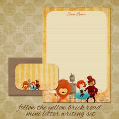 wizard of oz personalized stationery set follow the yellow brick road mini letter writing set