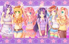 MLP group shot, anime style. I adore Pinkie Pie!