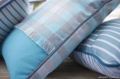 Cushions made with Sunbrella® indoor & outdoor fabrics - blue grey stripes tartan passe poil
