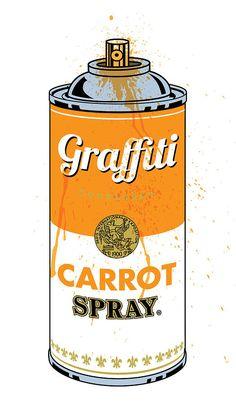 Graffiti Carrot Spray Can Print by Gary Grayson Graffiti Spray Can, Stencil Graffiti, Graffiti Painting, Graffiti Murals, Graffiti Styles, Graffiti Alphabet, Graffiti Lettering, Street Art Graffiti, Mural Art