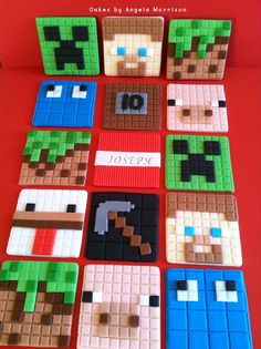 Mine craft set of cupcake toppers by CakesbyAngela on Etsy Minecraft Torte, Minecraft Cupcakes, Minecraft Stuff, Minecraft Birthday Party, 8th Birthday, Birthday Parties, Fondant Cupcake Toppers, Fondant Cakes, Minecraft Christmas