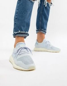 Adidas adidas Originals Swift Run Sneakers In Cream With White Stripe Cream from ASOS USA | Shop