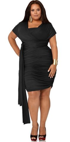 Ruched Convertible Dress - Black