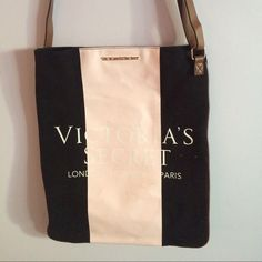 Limited edition Victoria's Secret tote Special edition London New York Paris tote. Baby doll pink with black, brown adjustable strap. Victoria's Secret Bags Totes