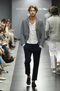 LOVE this striped blazer on a man. and that shirt, and those pants, and the man :)