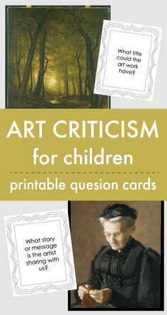 Use my 'how to talk about art with kids' printable question cards as part of this easy art criticism lesson for children. Easy art criticism lesson for children with printables Let's talk about…More Art History Lessons, History Quotes, History Education, Education Quotes, Art Education, History Major, Art History Timeline, Easy Art Lessons, Education Major
