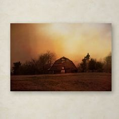 """Trademark Art 'The Old Barn On A Fall Evening' Photographic Print on Wrapped Canvas Size: 16"""" H x 24"""" W"""