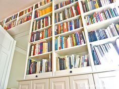 Ikea billy bookcase hack entertainment center billy bookcase wall door mega storage african home decorations for Bookcase Plans, Bookcase With Glass Doors, Bookcase Wall, Bookcase Storage, Built In Bookcase, Dvd Storage, Storage Ideas, Corner Shelving, Home Decor