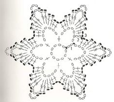 diagram More - Salvabrani Crochet Snowflake Pattern, Crochet Motif Patterns, Crochet Stars, Crochet Snowflakes, Crochet Diagram, Thread Crochet, Crochet Doilies, Crochet Flowers, Crochet Stitches