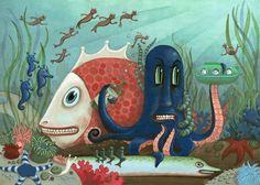 Underwater Scene with Octopus and Fish : HiHorse Omnibus by hihorse