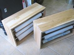 organizing rolls of paper- old dresser drawers with tension rods to store wrapping paper, ribbon, etc.