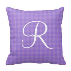 Orchid Gingham Monogram Pillow