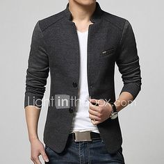 Abetteric Mens Plus Size Spring Summer Basic Style Lounge Jacket Top