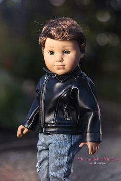 Black Leather Biker Jacket - Clothes for American Girl Girl Boy Doll