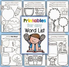 Printables for any Word List Clever Classroom
