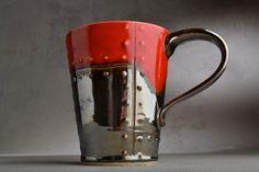 Sheet Metal Mug Made To Order Red and Chrome Sheet Metal Stoneware Mug by Symmetrical Pottery.
