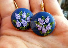Valley of lilacs polymer clay earrings jewelry by LenaHandmadeJewelry on @DeviantArt