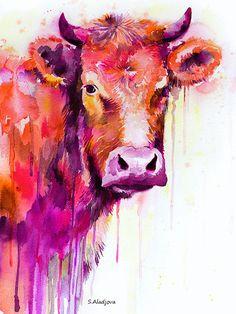 Peinture aquarelle Red Cow print animal illustration par SlaviART