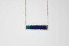 Dark blue glass with nickle-free, sterling silver chain in a lead-free  solder…