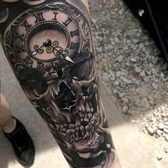 Realistic Skull and Clock Tattoo On Left Arm