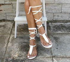Low Wedge Sandals, Sexy Sandals, Ankle Wrap Sandals, T Strap Sandals, Bridal Sandals, Leather Gladiator Sandals, Ancient Greek Sandals, White Leather, Ethereal