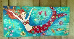 Mermaid Folk Art on Reclaimed Wood Beach Decor by evesjulia12, $89.00