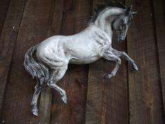 Horse Sculpture Wall Art Zimmer Equine Art Resin. $219.00, via Etsy.