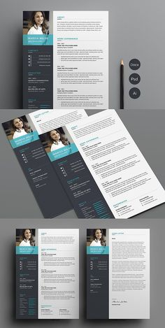 Clean Resume/CV template to help you land that great job. Easily edit the typography, wording, colors and layout. Resume Design Template, Cv Template, Resume Templates, Cv Design, Brochure Design, Graphic Design, Design Ideas, Resume Format For Freshers, It Cv